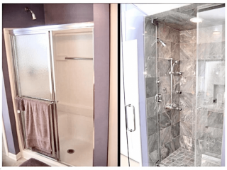 Bathroom renovation service Kerrville Tx before after image