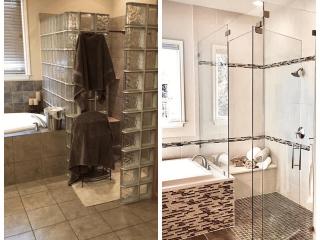Bathroom renovation service before after image